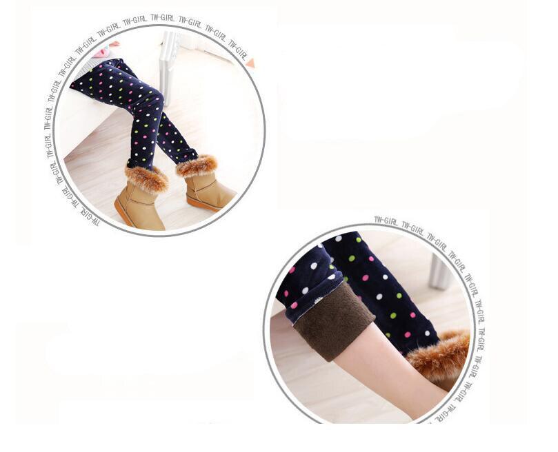 VEENIBEAR Newest Winter Girl Leggings Velvet Thicken Warm Star Print Girl Pants Kids Children Pants Winter Girl Clothing 2-7T 5