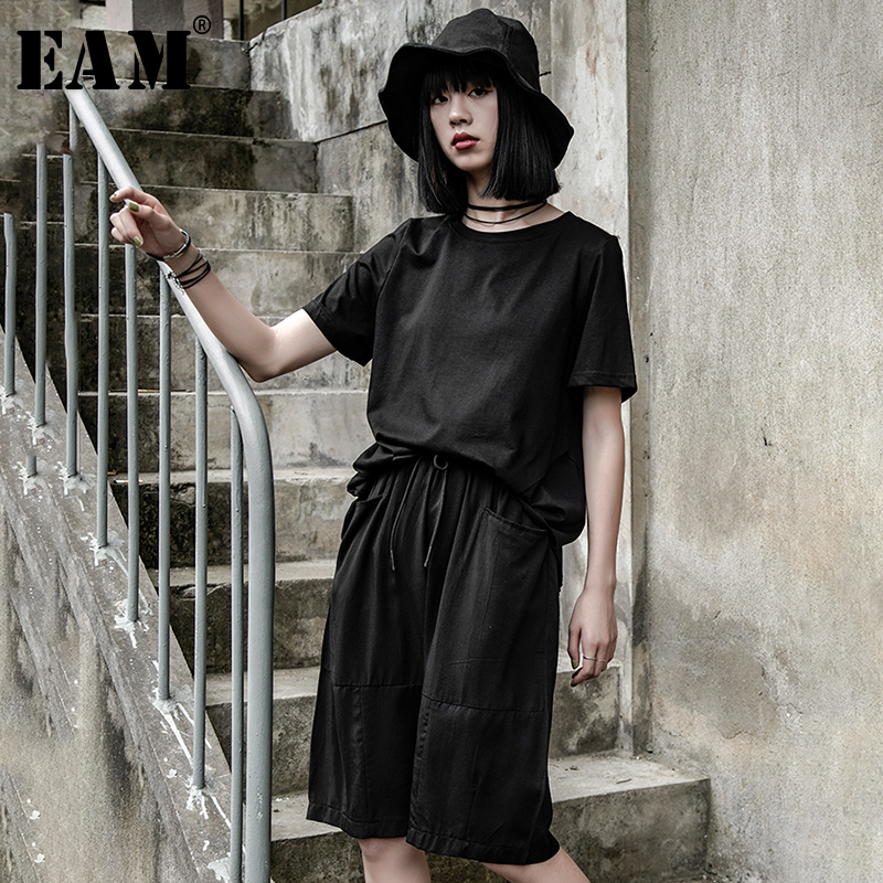 [EAM] 2020 New Spring Autumn High Elastic Waist Black Drawstring Loose Knee Length Pants Women Trousers Fashion Tide JW464