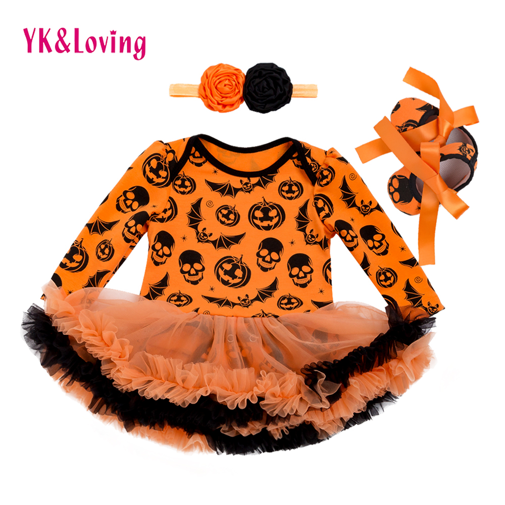 Halloween Baby Girl Clothing for Kids Romper Cotton Long Sleeve Toddler Skull Pumpkin Jumpsuit Tutu Dress Costumes 2017 Popular