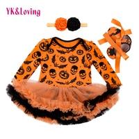 Halloween Baby Girl Clothing For Kids Romper Cotton Long Sleeve Toddler Skull Pumpkin Jumpsuit Tutu Dress