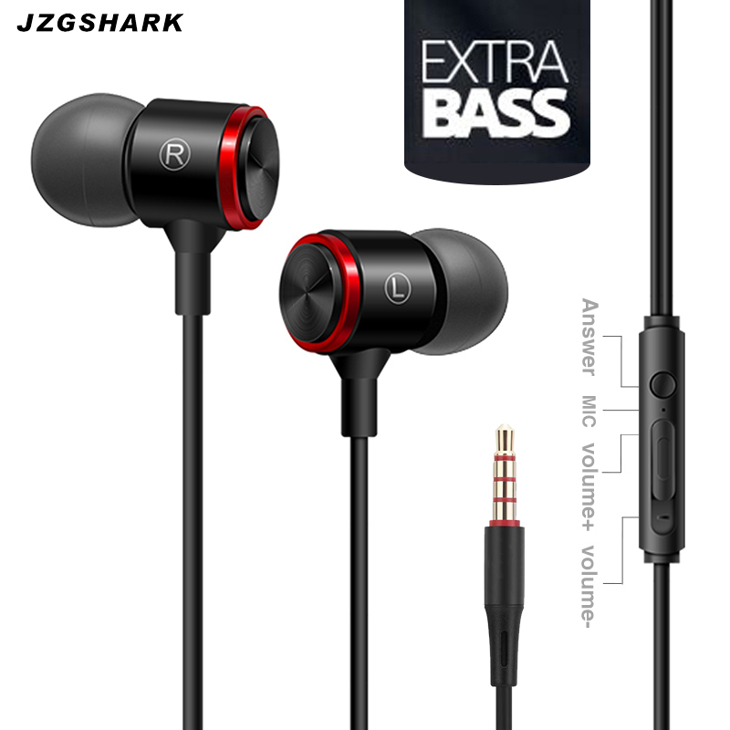 Écouteur de téléphone dans l'oreille métal suppression de bruit stéréo musique Sport course HiFi écouteurs avec Microphone pour MP3 PC 5 livraison gratuite