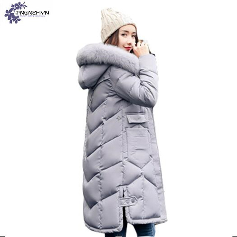 TNLNZHYN winter new Women clothing cotton jacket coat fashion loose large size thicken warm hooded fur collar female coat QQ136 2017 winter feather cotton clothing hooded jackets loose thicken large size warm long jacket coats nagymaros collar lady parkas