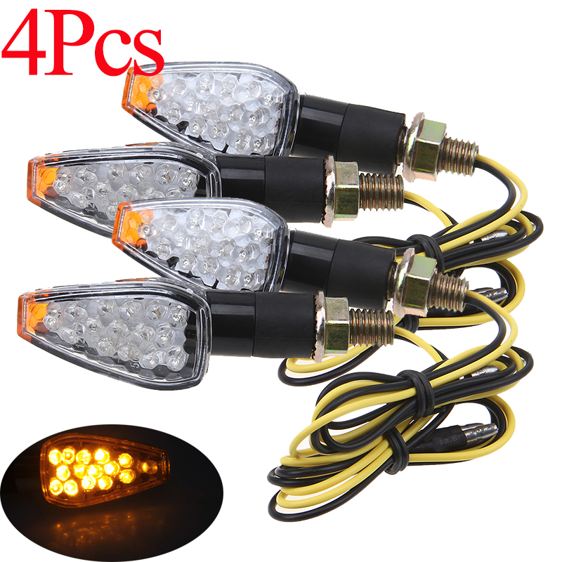 POSSBAY 4X Motorcycle LED Turn Signal Lights Indicator Lights Motocross Blinker for Suzuki Honda Yamaha Cafe Racer Moto Flasher
