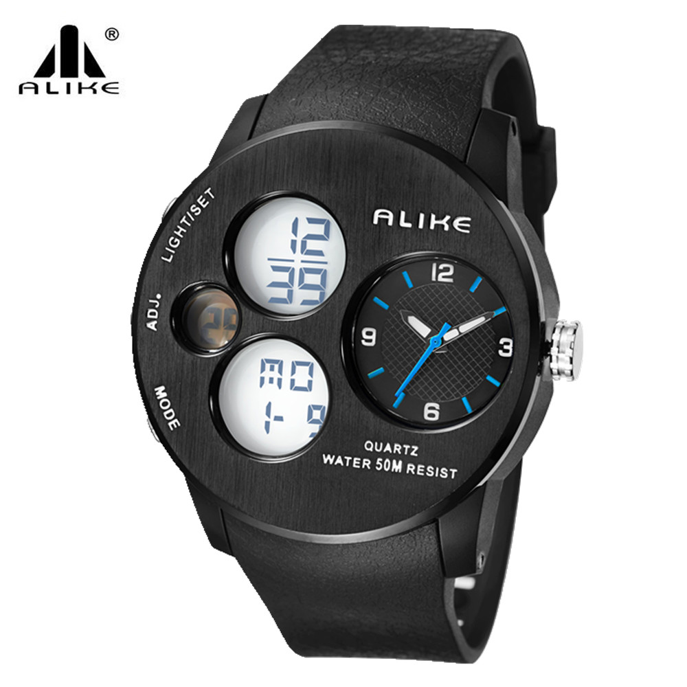 Alike Brand multifunction Men LED Digital Military quartz Watch,50M Dive Swim Dress Sports Watches Fashion Outdoor Wristwatches
