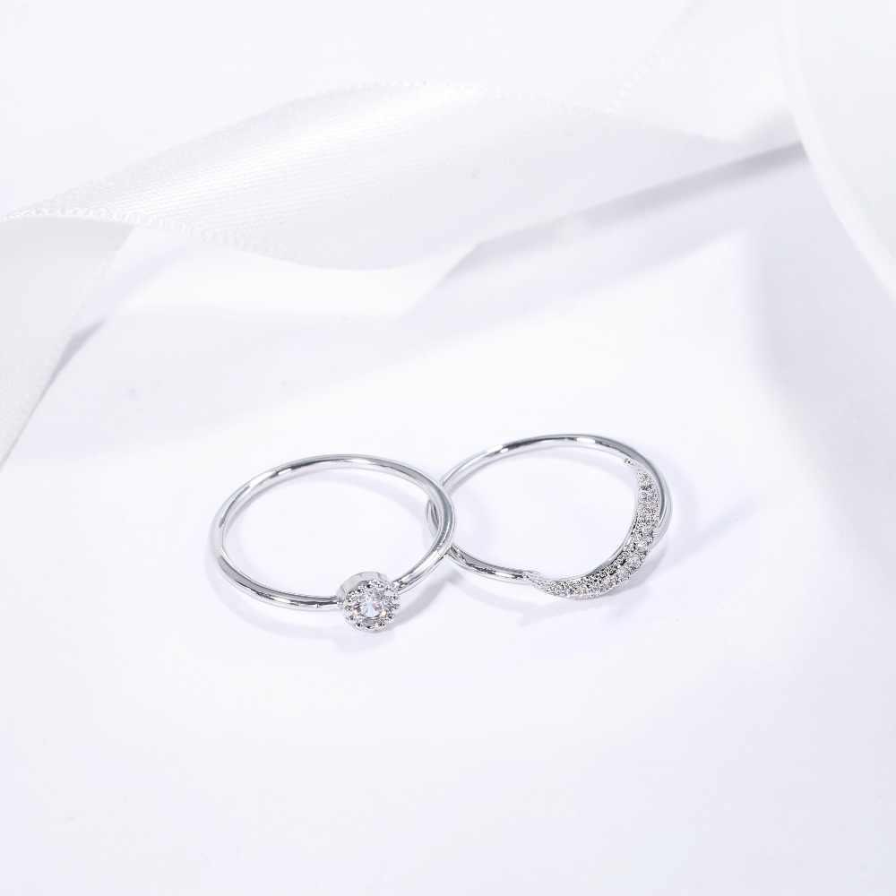 DEELAN кольца для женщин розовое золото кристаллическая Звезда Луна Съемная мода ювелирные изделия девушка Циркон Помолвочное, обручальное кольцо ювелирные изделия