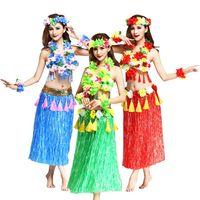 6 قطعة/المجموعة أزياء النساء التنانير تنورة هاواي حولا العشب الألياف البلاستيكية ازياء السيدات اللباس