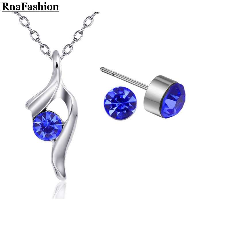 RNAFASHION Jewelry wholesale Austria Crystal wedding jewelry sets  Necklaces Stud Earrings   Bridal Jewelry for Women bridal