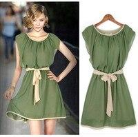 2015 Spring Women Fashion Sleeveless Casual Chiffon Dresses Cute Mini Summer Dress With Sashes Vestidos Femininos
