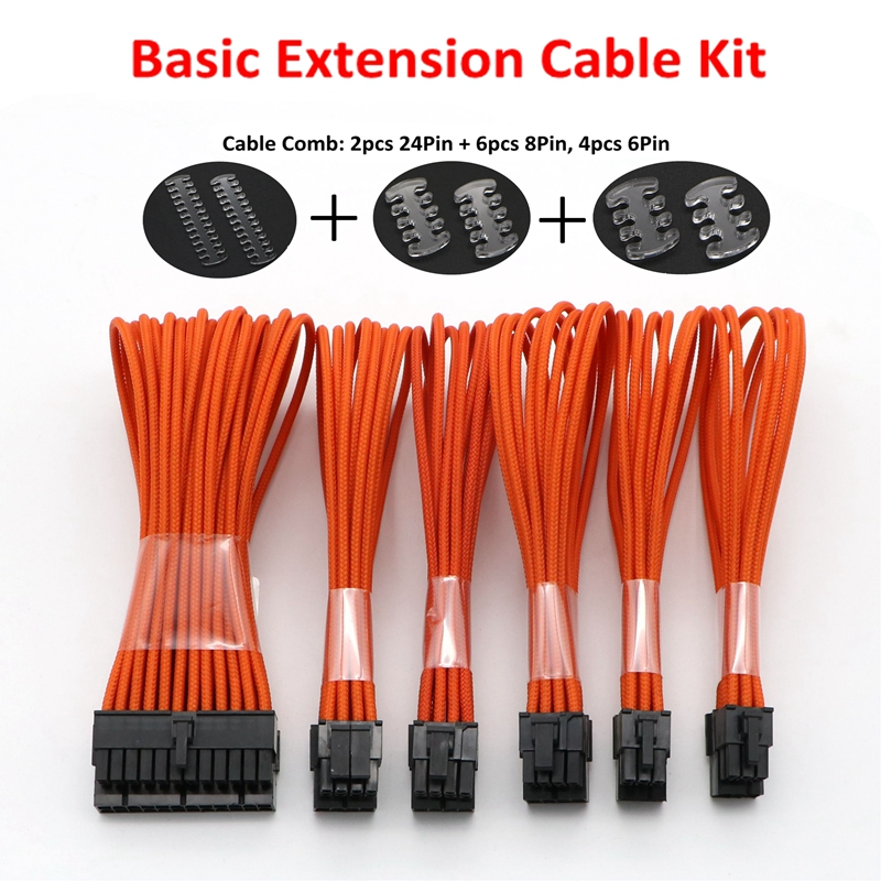 Multicolor Sleeved Extension Cable Kit - 1pc ATX 24Pin, 1pc EPS 4+4Pin, 2pcs PCI-E 6+2Pin, 2pcs PCI-E 6Pin Extension Cable. 2pcs 100