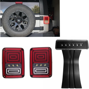 One Pair LED Rear Taillight and One piece 3rd LED High Mount Brake Light For Jeep Wrangler 07-16