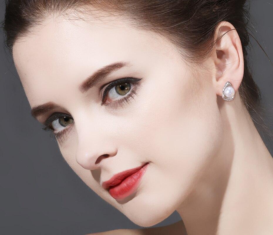 FENASY 925 Sterling Silver Stud Earrings For Women Freshwater Pearl Jewelry Fashion Shell Design Boho Geometric Pearl Earrings