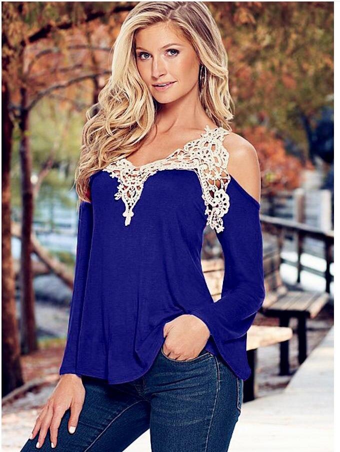 a246f4707896 € 7.53 49% de DESCUENTO|Yauamdb mujeres ropa mujer 2016 verano camisa  femenina manga larga encaje v cuello blusa costura hombro blusas tops Sexy  ...