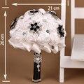 Venta caliente Negro Y Blanco Flores Color de Rosa Artificiales Shinning Del Rhinestone Nupcial de La Boda Bouquet