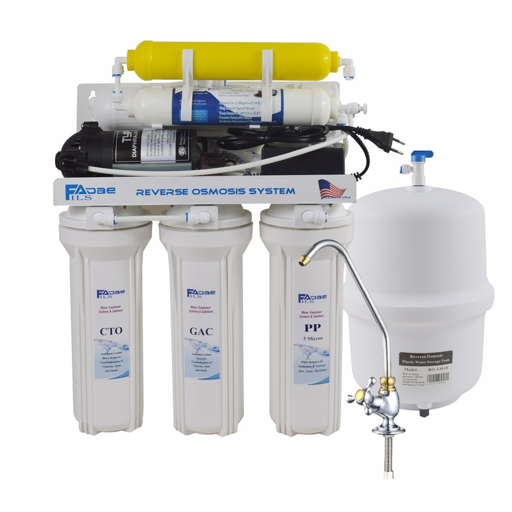 6 Stage Deionization+Reverse Osmosis Drinking Water Filtration System 75GPD with Ion Exchange Resin Filter Residential UnderSink 300 gpd water filter ro booster pump for reverse osmosis drinking water