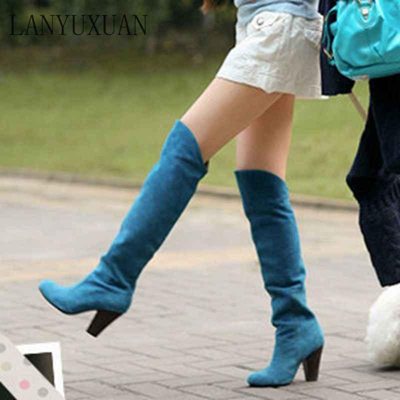 2017 Kışlık Botlar Büyük Boy 34-43 Kadınlar Için Diz Çizmeler Üzerinde Seksi Yüksek Topuklu Uzun Kış Ayakkabı yuvarlak Ayak Platformu Şövalye 818