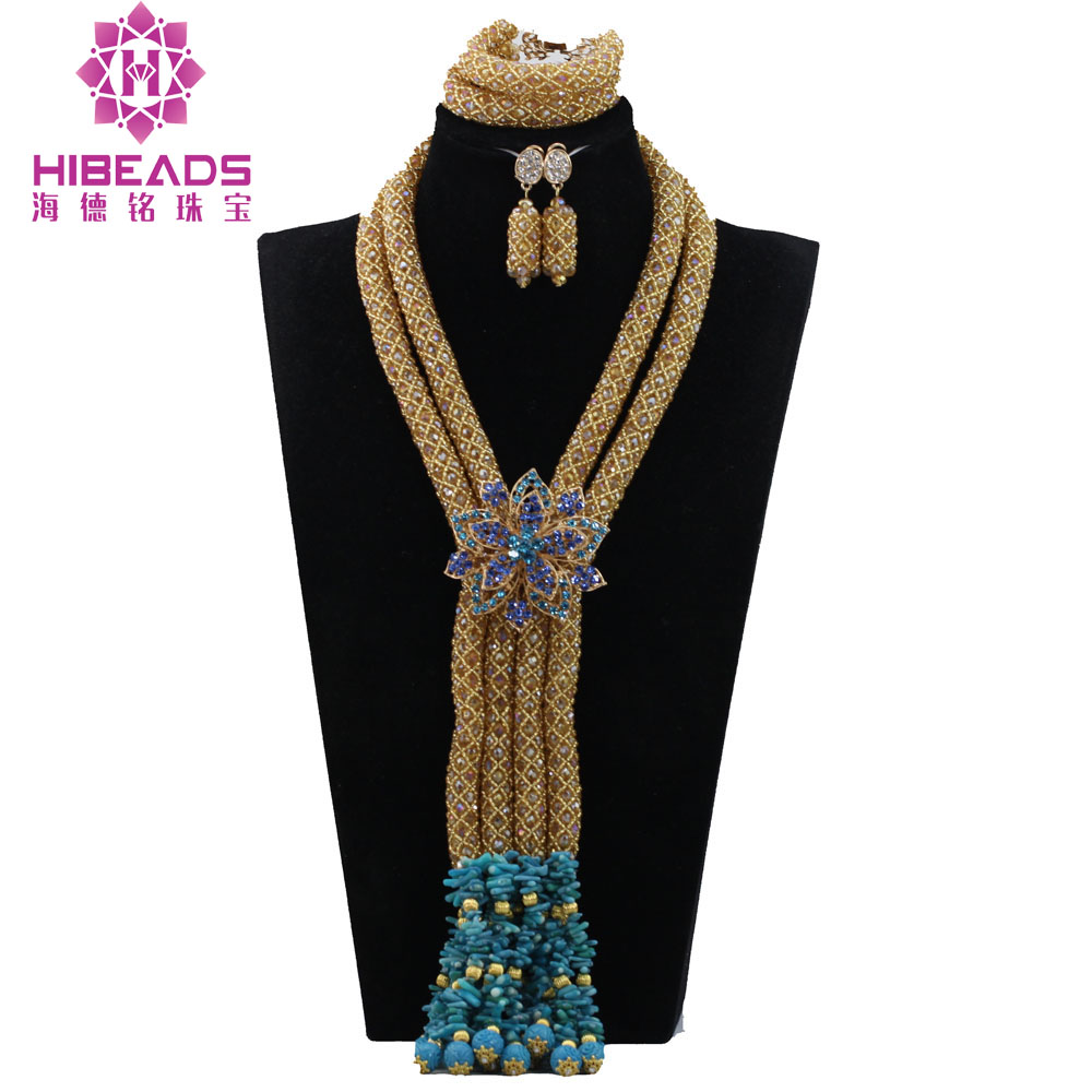 Fashion Champagne Gold Crystal African Jewelry Sets Nigerian Wedding Beads Coral Beads Pendant Necklace Set QW1177Fashion Champagne Gold Crystal African Jewelry Sets Nigerian Wedding Beads Coral Beads Pendant Necklace Set QW1177