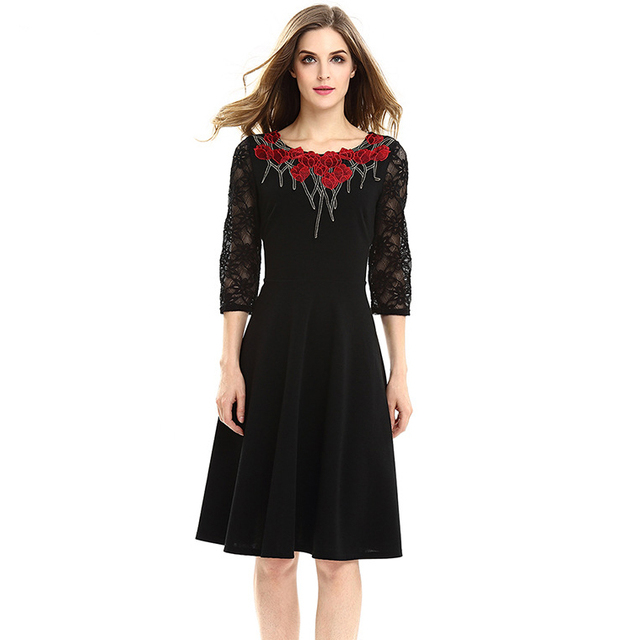 Office Dress 2017 Women Plus Size 2XL 3XL 4XL Floral Embroidery Lace Sleeve  Patchwork Flared Hem 2a98664c74fe