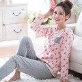 2017 Primavera Casual Homewear Pijamas 100% de Algodón de las mujeres Del O-cuello ropa de dormir Pijama Casa Ropa Traje Femenino