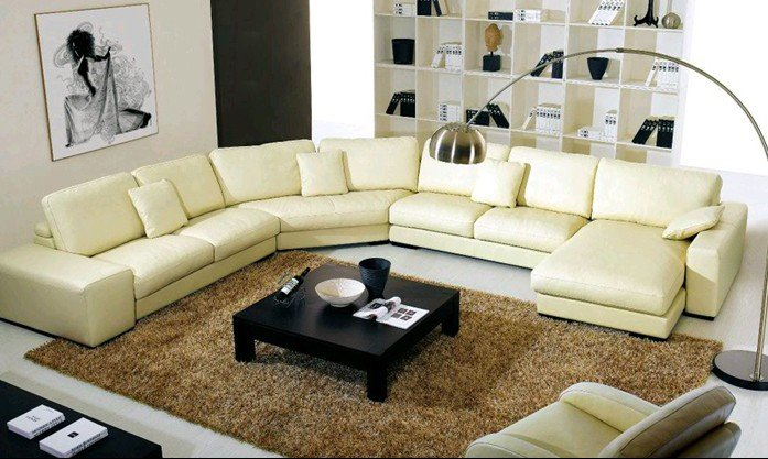 Wooden Sofa Living Room Furniture U Shaped Combination Of