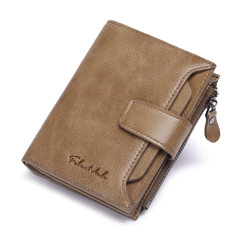 New Fashion Business Mens Wallets 100% Cow Genuine Leather Short Wallet High Quality Male Cash Purses Clutch Boy Casual Wallets