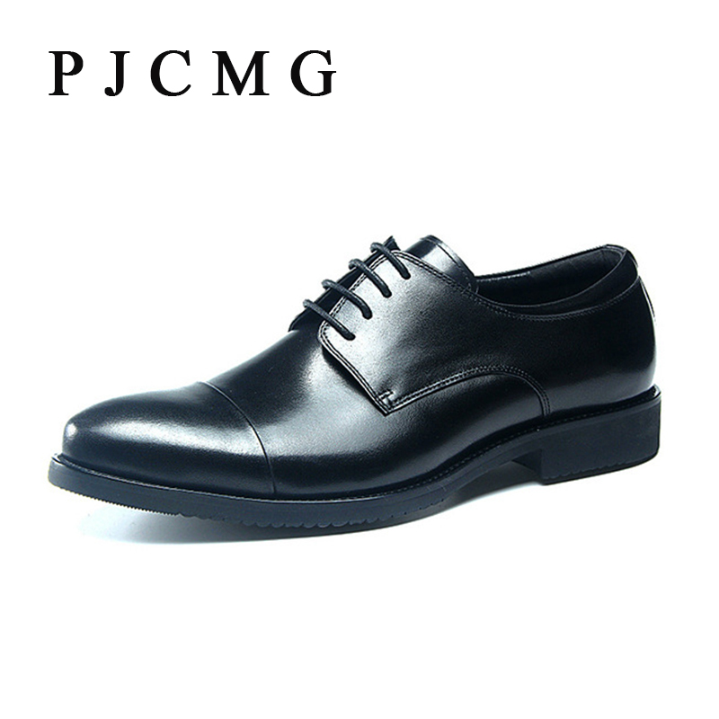 ФОТО PJCMG Fashion New Black / Red Flats Formal Mens Dress Lace-Up Carved Pointed Toe Genuine Leather Business Man Wedding Shoes
