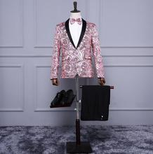 Newest pink yellow pattern sequins suits jackets Men's fashion slim fit suit personality Wedding formal dress stage costumes !