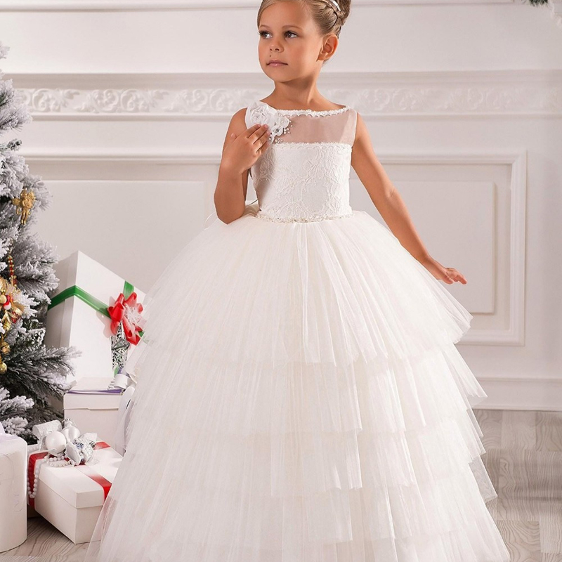 Cute Appliques Bow Ivory Solid Formal Christmas New Year Tribute Silk Tulle Tiered  White Scoop Ball Gowns 2-12 Years Old 2016Cute Appliques Bow Ivory Solid Formal Christmas New Year Tribute Silk Tulle Tiered  White Scoop Ball Gowns 2-12 Years Old 2016