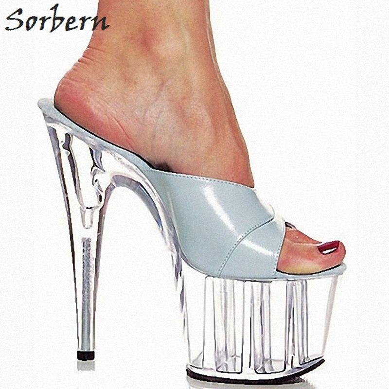 Sorbern элегантный светло-голубой женщин тапочки лета 2018 года новой платформы обувь 15 см высокая пятки слайды женщин с открытым носком на платформе тапочки