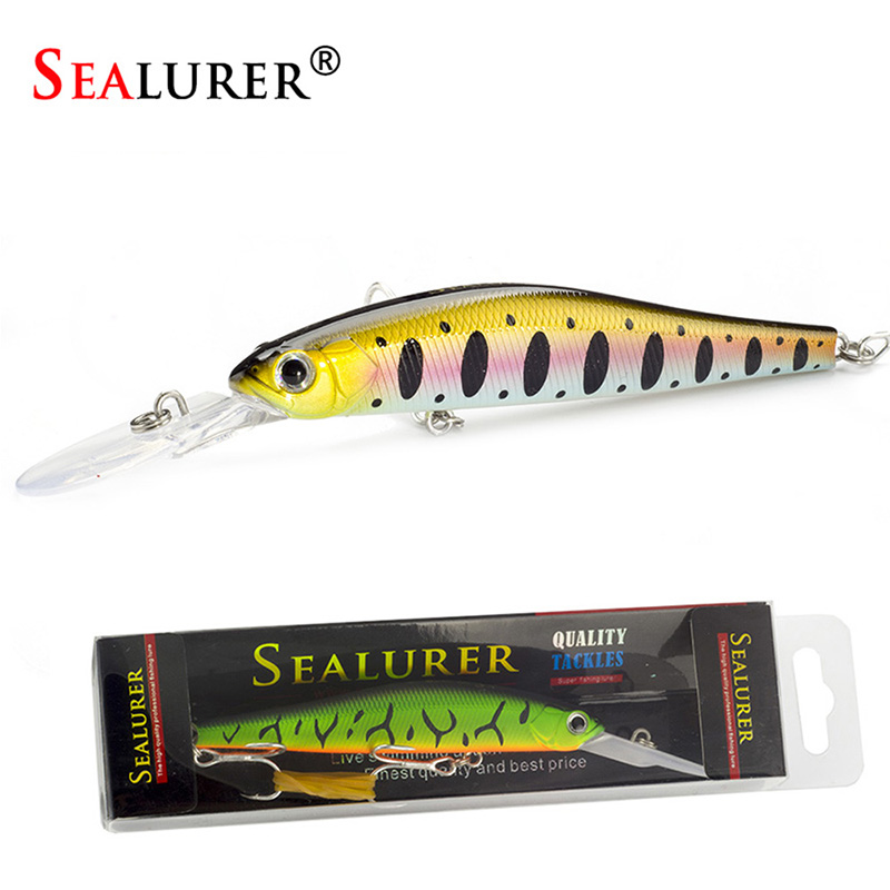Sealurer Long Tongue Wobbler Fishing Minnow Lures 12cm 11.5g Slowly Sinking Pesca Artifical Hard Baits 1pcs Jerkbait Crankbait sealurer 5pcs fishing sinking vib lure 11g 7cm vibration vibe rattle hooks baits crankbaits 5 colors free shipping