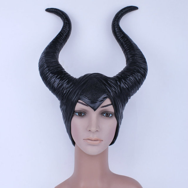 2016 trendy Genuine latex maleficent horns adult women halloween party costume jolie cosplay headpiece hat Free shipping