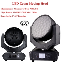 2Pcs/Lot Top Quality 37x20W RGBW 4in1 LED Zoom Moving Head Wash Light Projector Perfect For Stage DJ Disco Party And Nightclub