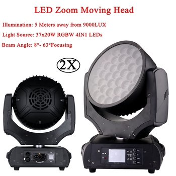 2Pcs/Lot Top Quality 37x20W RGBW 4in1 LED Zoom Moving Head Wash Light Projector Perfect For Stage DJ Disco Party And Nightclub 2pcs lot 4 in 1 led bar 7 10w moving head light rgbw 7 leds disco wash nightclub rainbow effect projector for wedding show