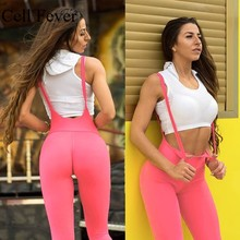 купить Yoga Fitness Pants Women Stretchy Sport Tights Hip Up Sling Strap Trousers Female Solid High Waist Workout Gym Athletic Leggings дешево