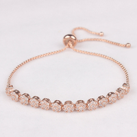 Top Quality Cubic Zircon Flower Adjustable Copper Chain Bracelet In Rose Gold Or Platinum Plated Free