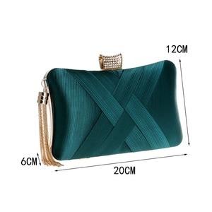 Image 2 - Luxury Handbags Women Bags Designer Silk Evening Bag Lady Satin Bridal Wedding Green Gold Box Purse Party Messenger Tassels