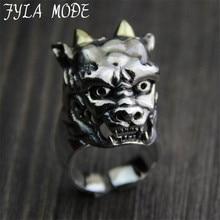 FYLA MODE Halloween Devil Skull Head Ring S925 Sterling Silver Jewelry Gothic Azrael Motor Biker Men Ring 26mm Width 31G PBG063