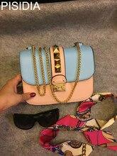 Fashion Genuine Leather Bags for Women 2019 Chain Rivet Drill Lady Small Single Shoulder Oblique Satchel cross body bag цены онлайн