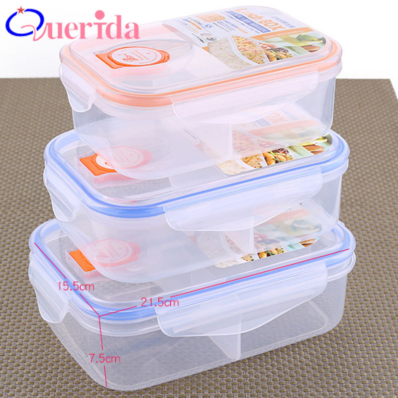3Pcs/Set Portable Plastic Seal Storage <font><b>Box</b></font> Set <font><b>Lunch</b></font> <font><b>Box</b></font> Can Microwave <font><b>Lunch</b></font> <font><b>Box</b></font> Bento Heat-Resistant <font><b>Lunch</b></font> <font><b>Box</b></font> <font><b>Food</b></font> <font><b>Container</b></font> image