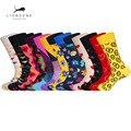 LIONZONE брендовые качественные Веселые носки для мужчин Сердце Полосатые носки с дизайном «звёзды» недавно Стиль красочные Для мужчин хлопок прилив уличной носки - фото