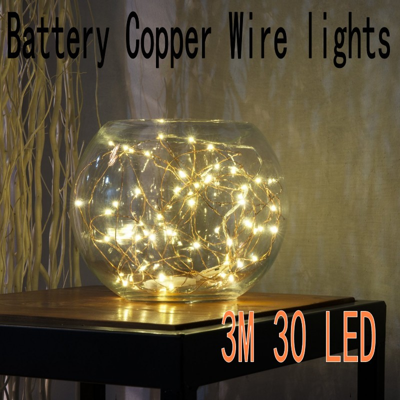 [2 Set] 30 LEDs Copper Wire lights 9.8Ft/3M string lights AA Battery Operated for christmas light festival wedding party or Home