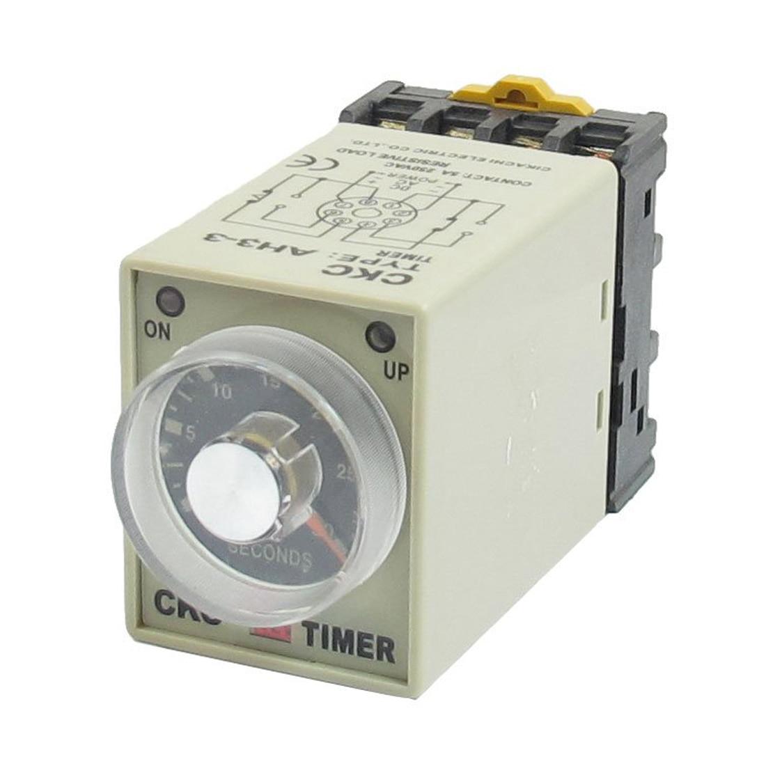 DHDL-DC 12V 0-30 Seconds 30s Electric Delay Timer Timing Relay DPDT 8P w Base knob control dc24v dc12v ac110v ac220v 8p dpdt 5s seconds timer time delay relay w socket h3y 2