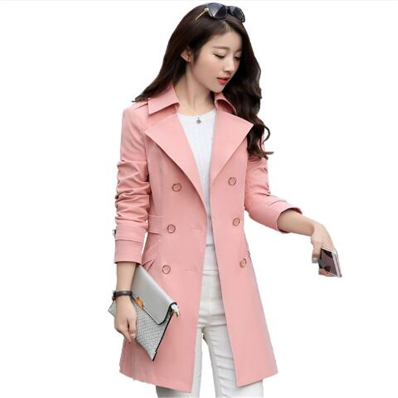 2018 Women   Trench   Coat Fashion Slim Double-Breasted   Trench   Coats Female Casual Windbreaker Outwear jaqueta corta-vento