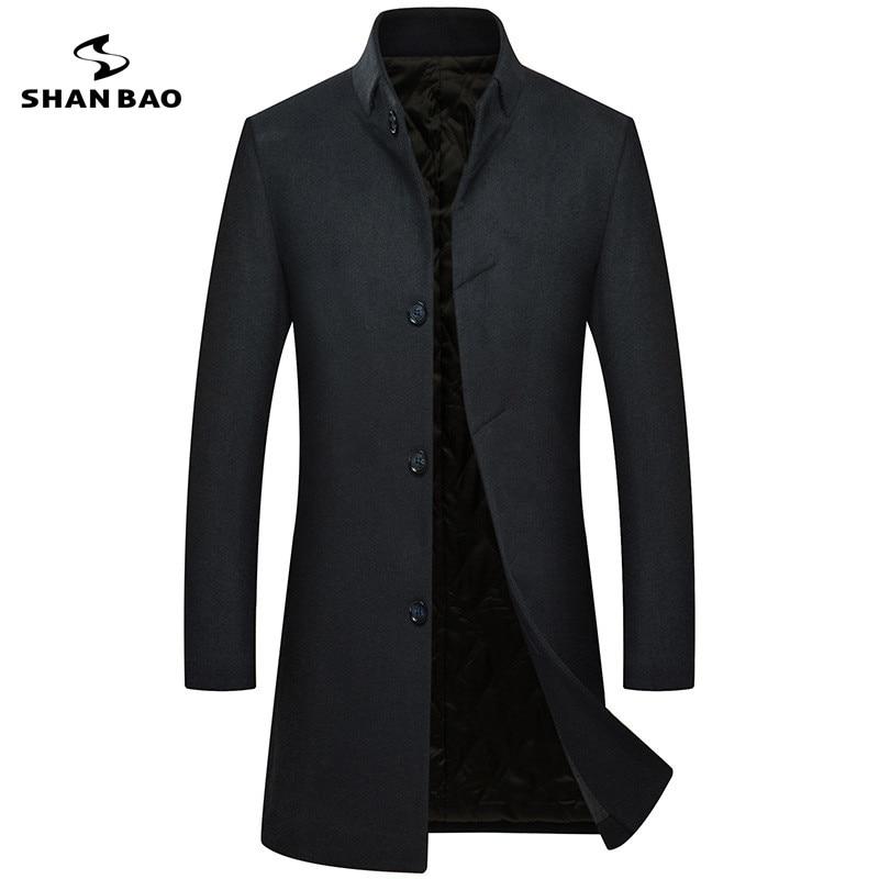Luxury High Quality Long Men's Casual Wool Coat Dark Buckle 2018 Winter Thick Warm Business Gentleman Slim Wool Jacket A1803