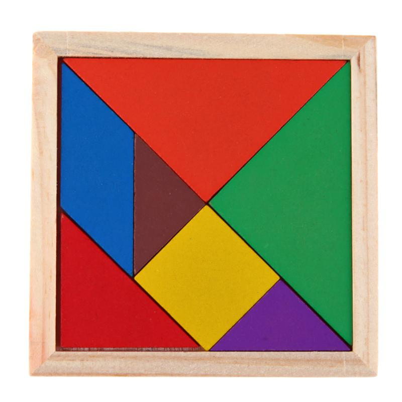 Montessori Wooden Tangram Jigsaw Puzzle Toy Geometry Shape Baby DIY Childhood Early Education Toy Development Wood Puzzle Game стоимость