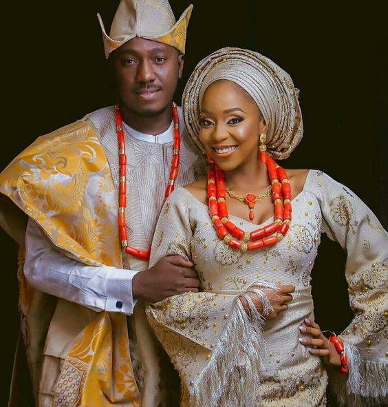 Corail Perles Nigérian Mariage Couple Bijoux Ensembles D'origine Corail Africain Costume De Mariée Bijoux De Fête Mariée et Le Marié CNR130