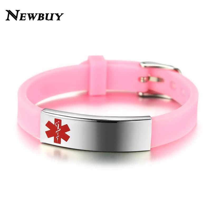 NEWBUY 2018 модные браслеты из нержавеющей стали для женщин и мужчин Медицинский символ розовый черный силиконовый браслет на запястье подарок на день рождения