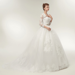 Image 3 - Fansmile שתי חתיכה ארוך שרוול מעיל חתונה שמלות 2020 בתוספת גודל כלה כדור כותנות Vestido de noiva Robe De Mariage FSM 122T