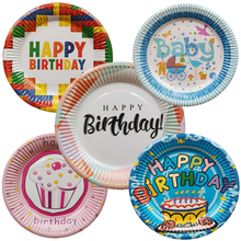 10pcs/lot Disposable Plates for Birthday Party Chidlrens Decoration Paper Tableware Letter Printed party suppliers