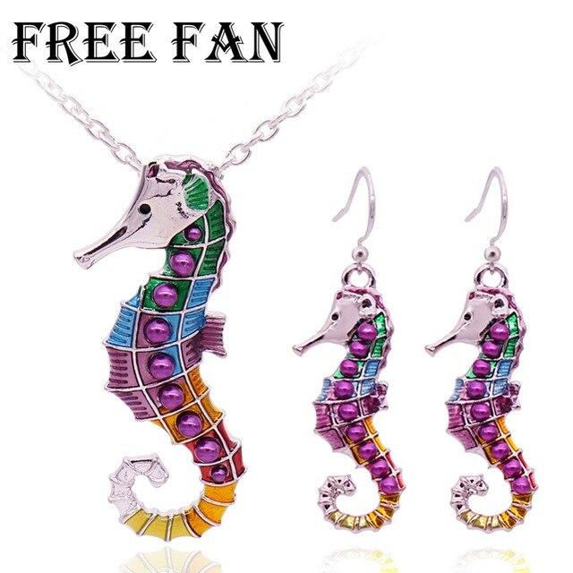 ฟรีพัดลมน่ารักเคลือบฟันเด็ก Seahorse เครื่องประดับชุดเทียมมุกสีม่วงสัตว์เด็กเครื่องแต่งกายเครื่องประดับสร้อยคอชุดสำหรับผู้หญิง