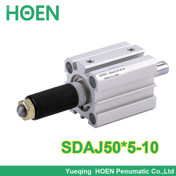 50mm Bore 5mm Stroke ADJUSTABLE 5-10 mm rod Pneumatic Compact Cylinder Double action Type SDAJ 50*5-10